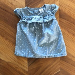 Carters lightweight denim polka dot top 18m